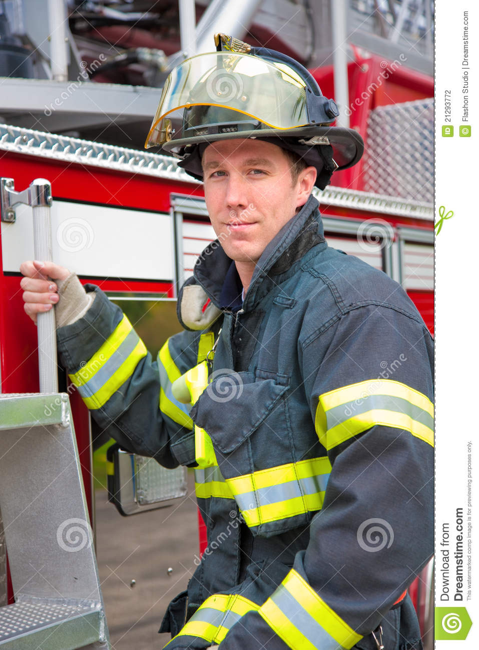 Young Handsome Firefighter Station Portrait Stock Photo