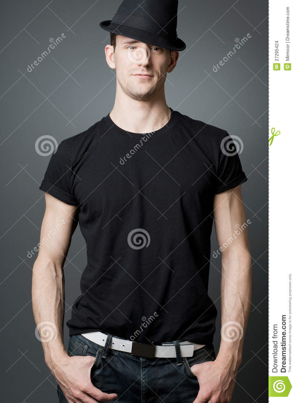 Young Handsome Guy In Black T-shirt. Stock Images - Image: 27295424