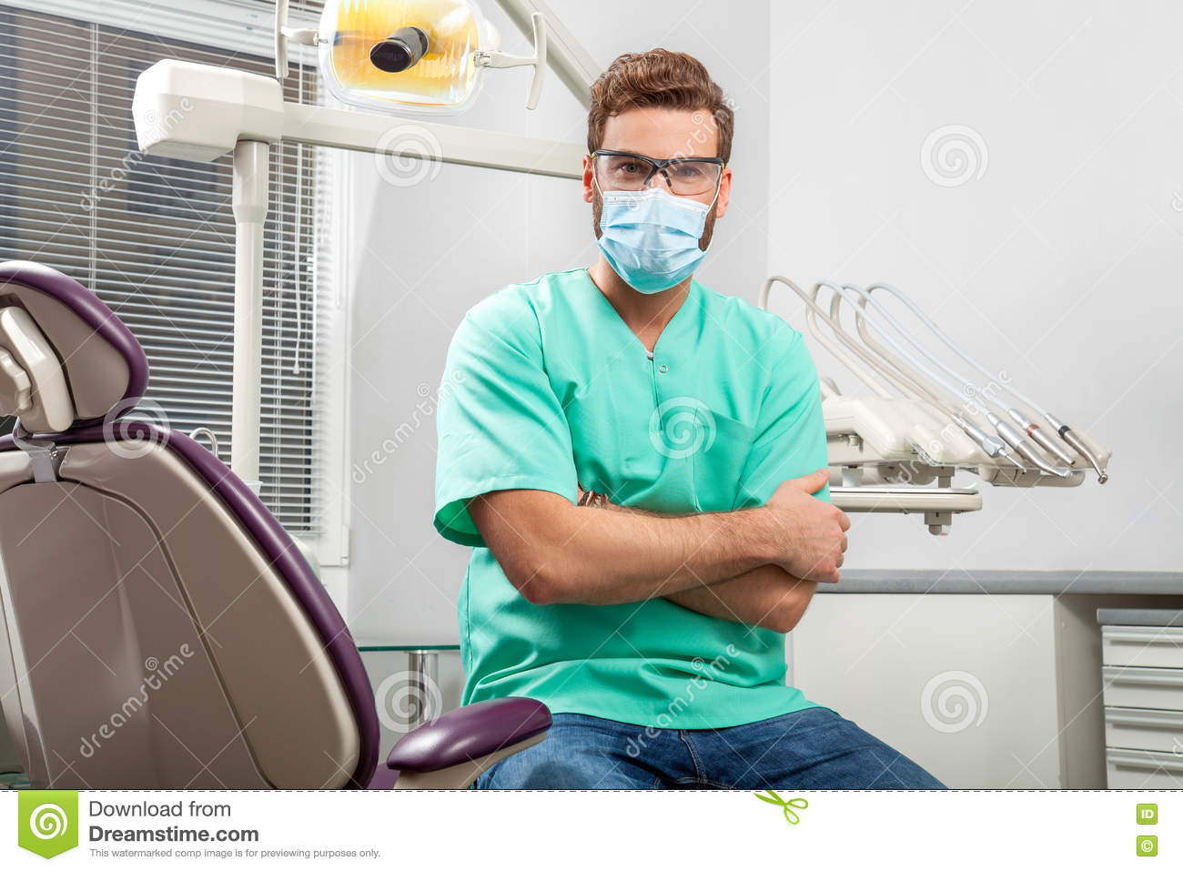 Glasses Male Handsome Dentist Mask Young Wearing And Doctor Stock