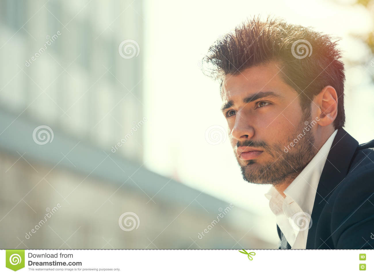 Young handsome man bearded. Hairstyle outdoors. Hope attitude