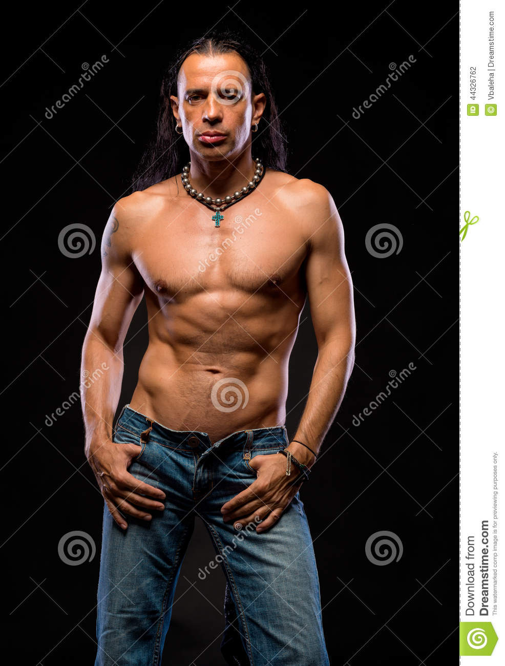 Portrait Of Handsome Man With Long Hair, Torso Naked Stock