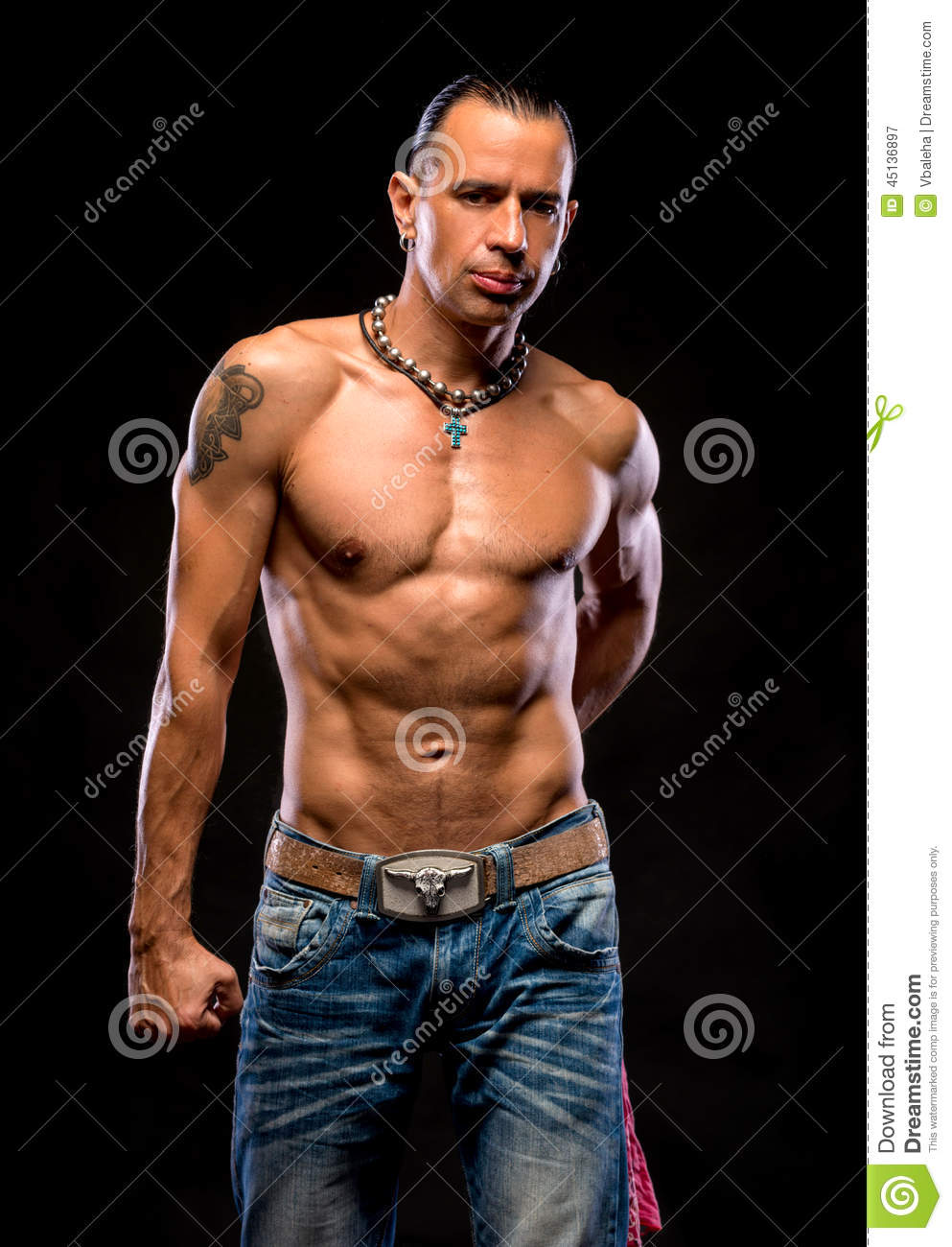 Young Man With Naked Torso Stock Photo - Download Image