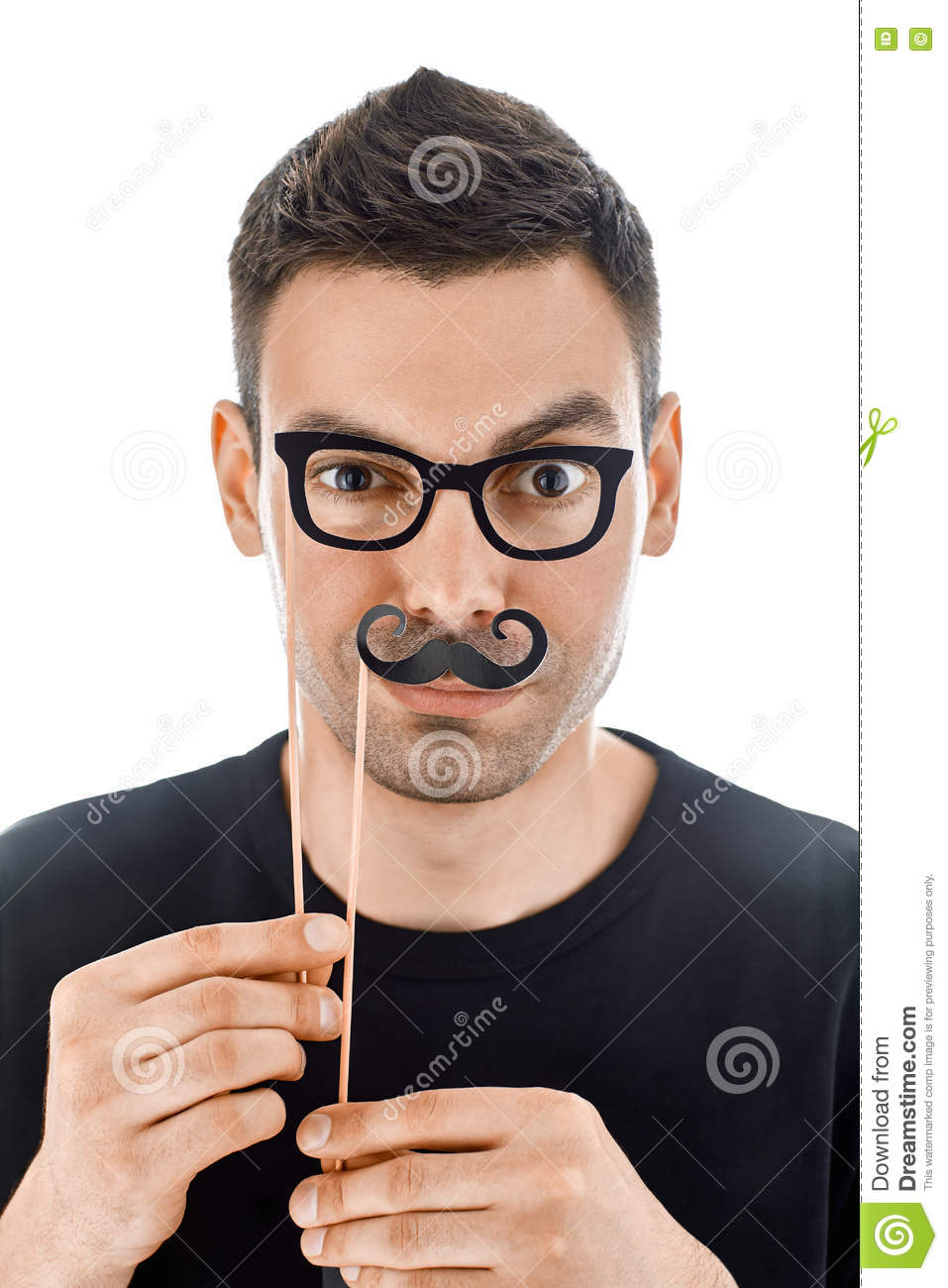 Prime Young Handsome Man With Paper Moustaches And Glasses Making Face Hairstyle Inspiration Daily Dogsangcom