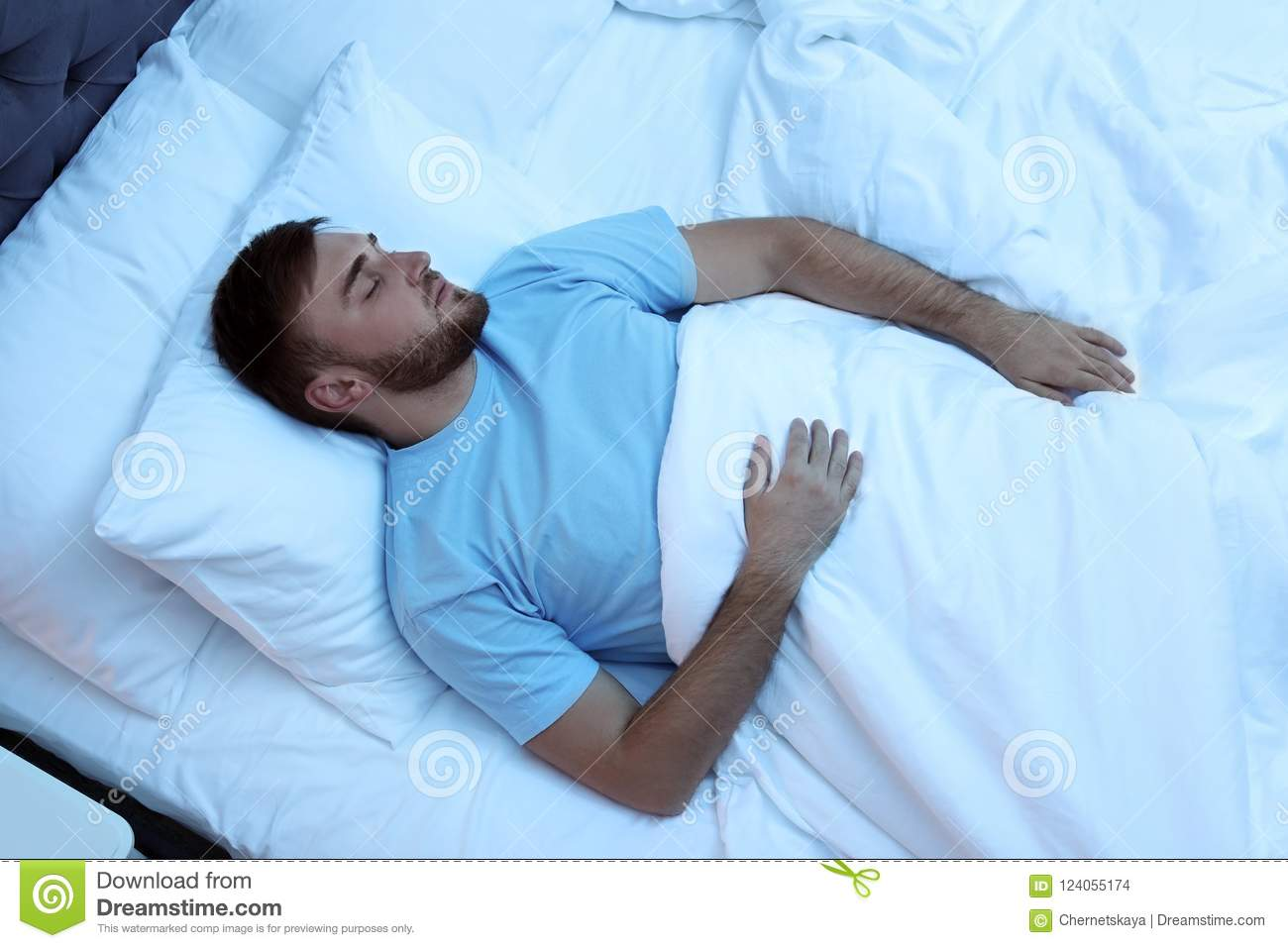 Royalty Free Man Sleeping In Bed Clip Art, Vector Images ...   Man Sleeping In Bed At Night