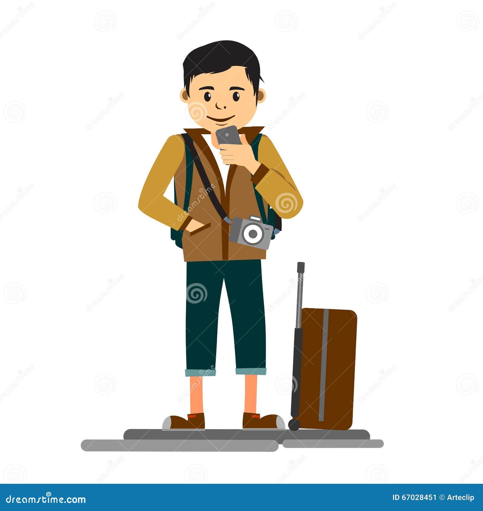 Young handsome man traveler or tourist flat illustration