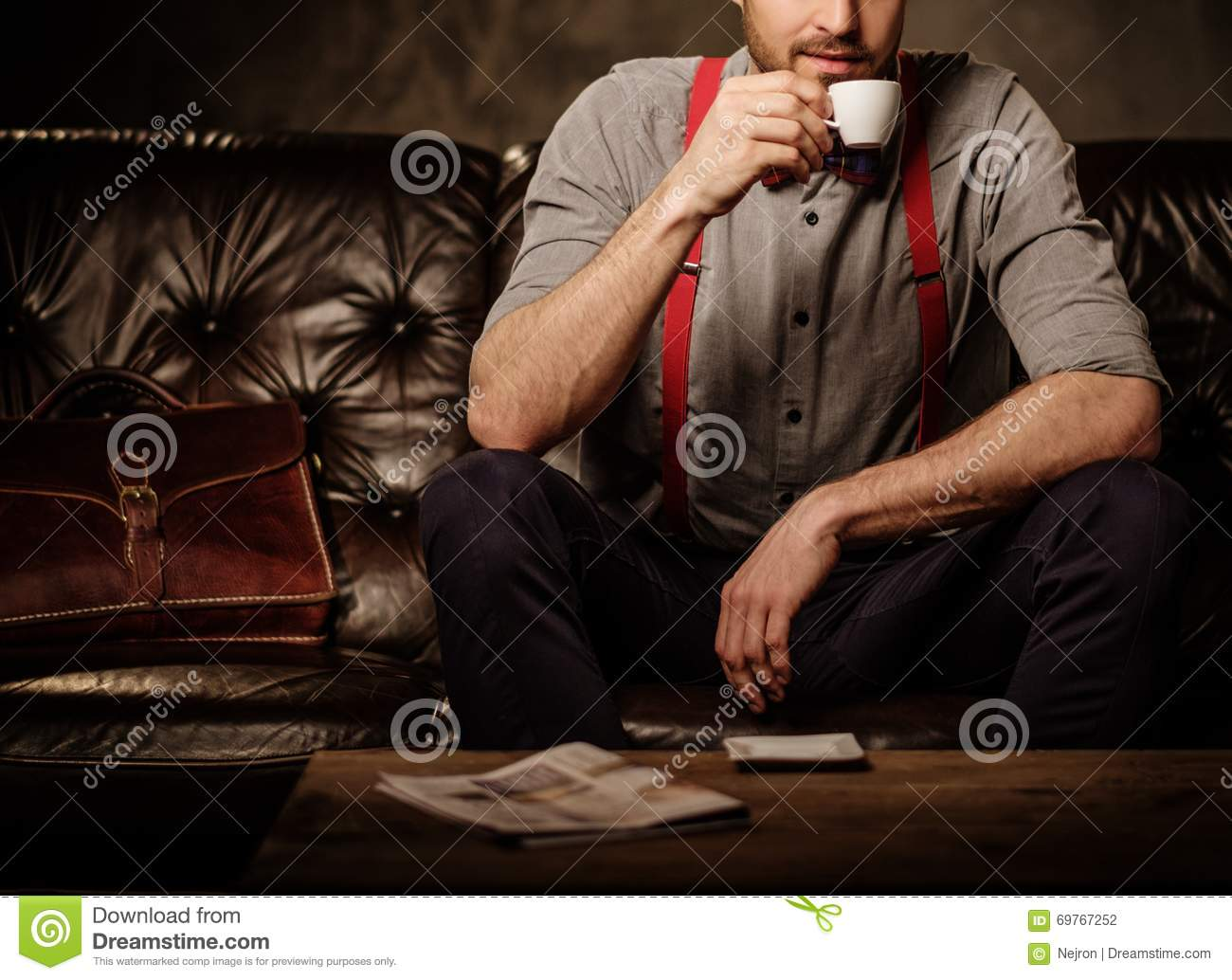 Young Handsome Old-fashioned Bearded Man With Cup Of Coffee ...