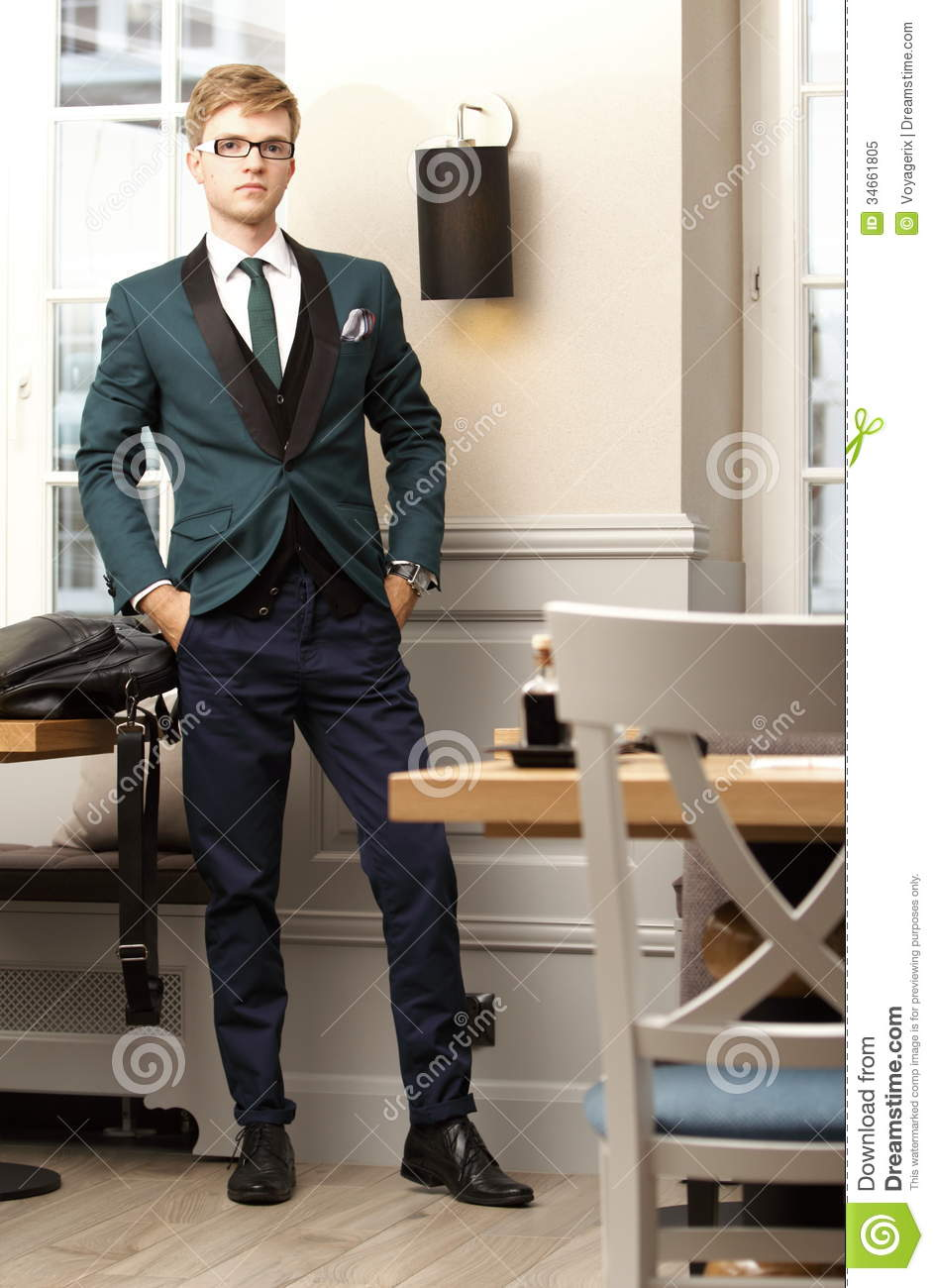 Young Handsome Stylish Man In Trendy Cafe Royalty Free Stock Photo ...