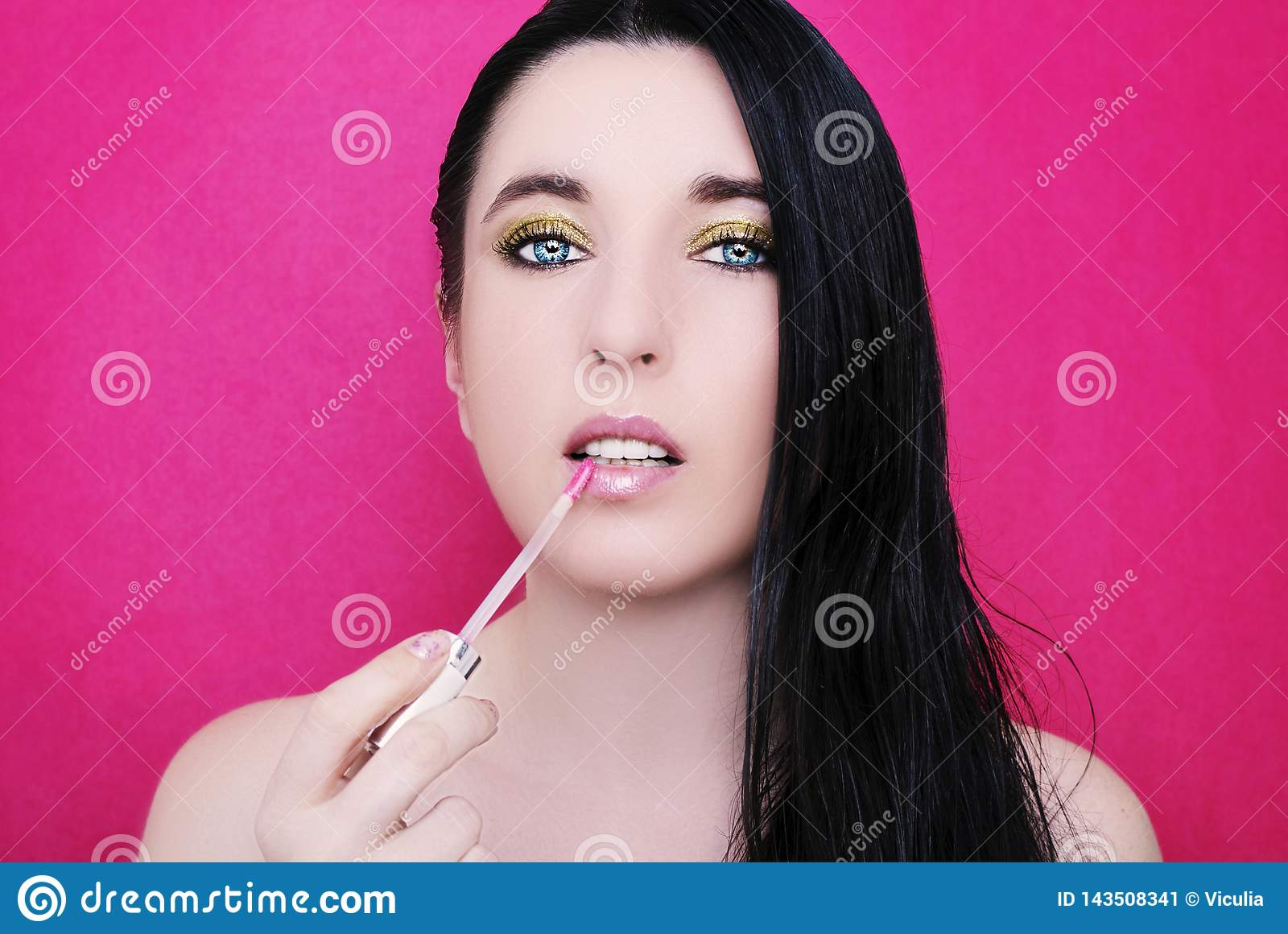 Young Beautiful Woman With Bright Makeup Stock Image