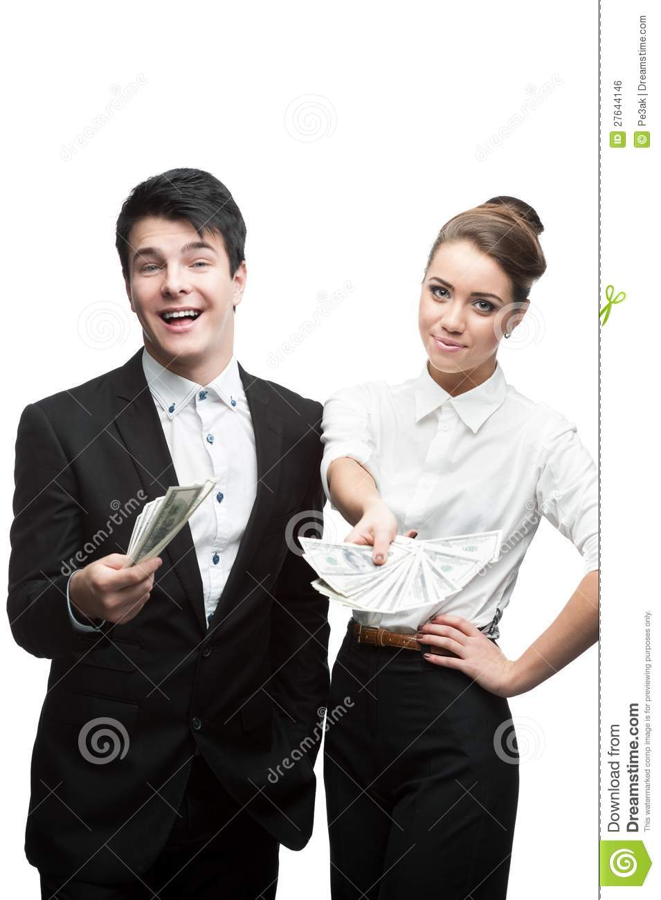 Young Funny Business People Holding Money Royalty-Free ...