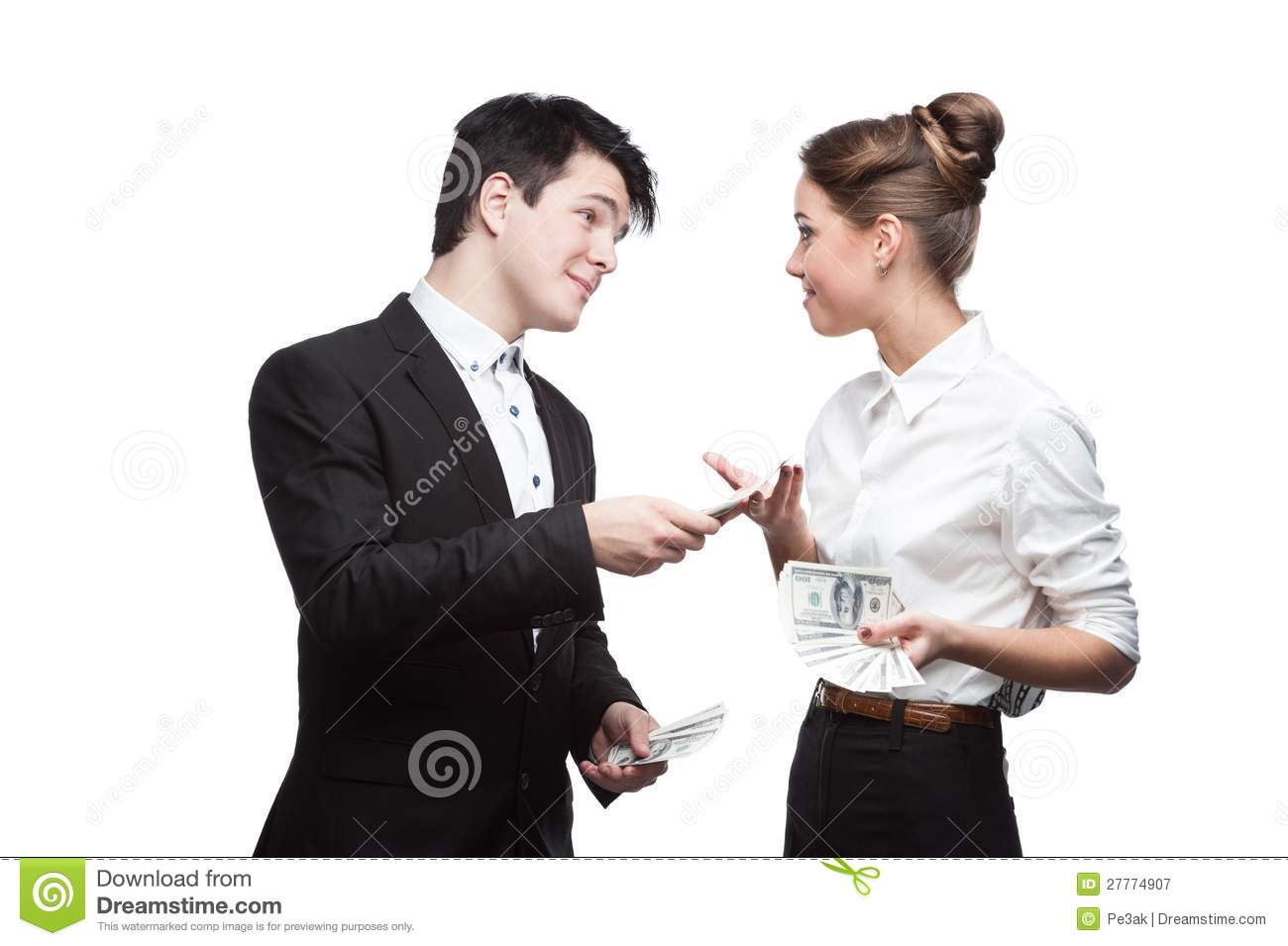 Young Happy Business People Holding Money Royalty Free ...