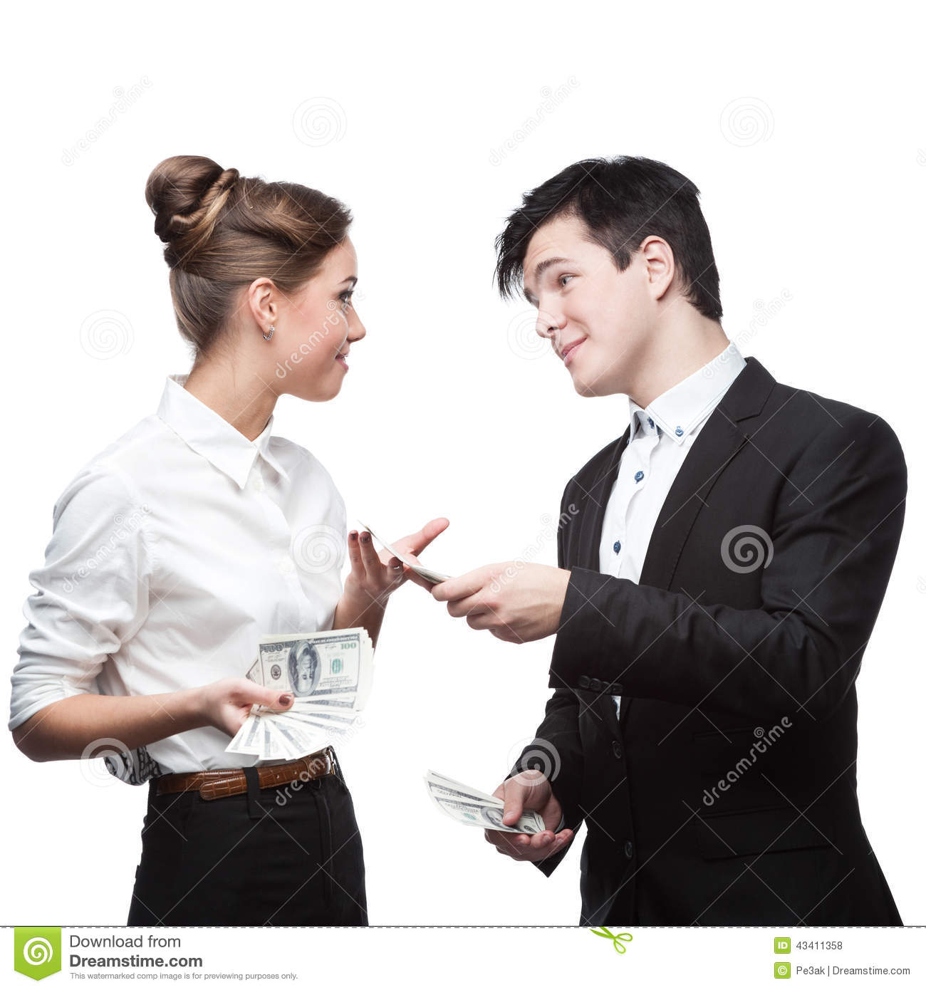 Young Happy Business People Holding Money Stock Photo ...
