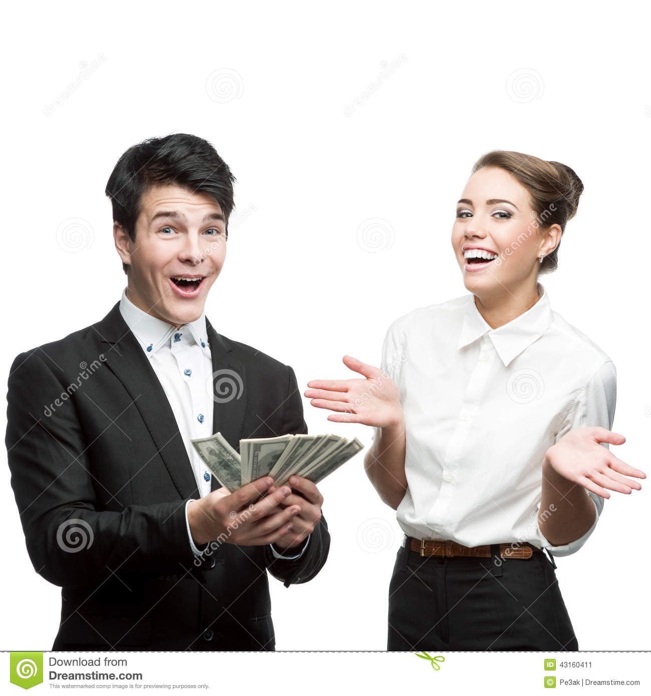 Young Happy Business People Holding Money Stock Image ...