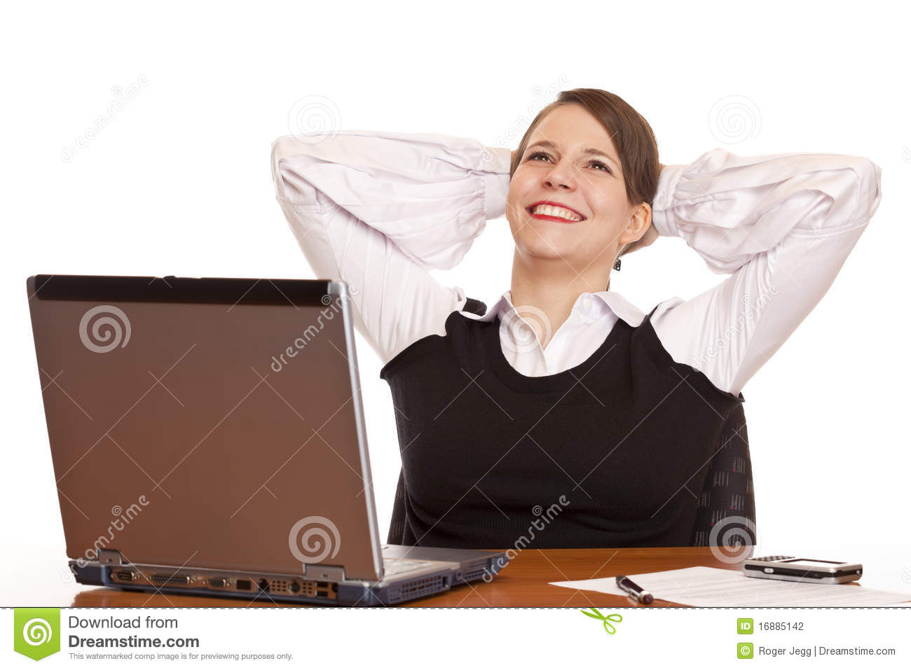 Young Happy Business Woman Relax In Office Stock Photo