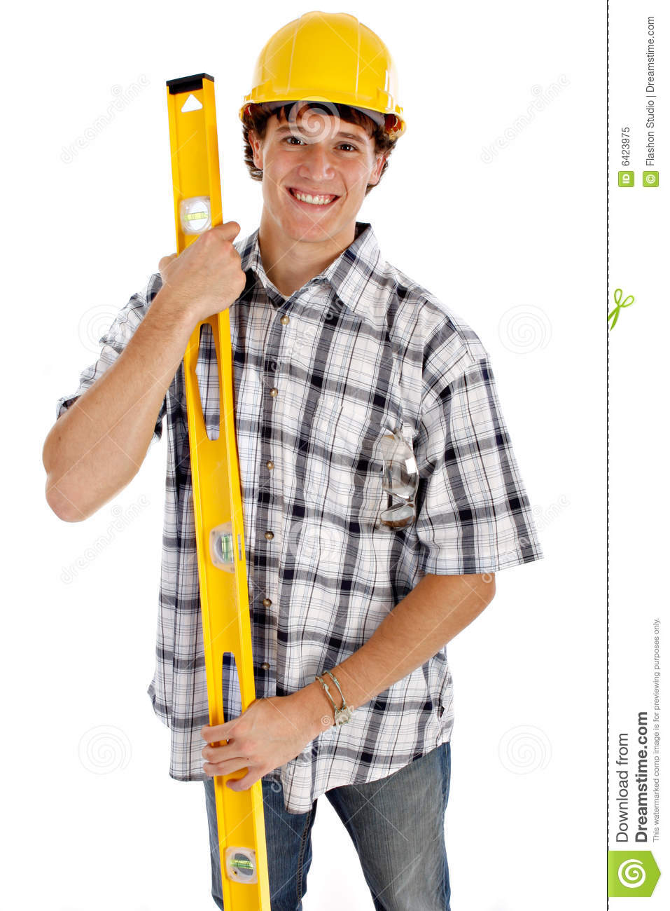Young Happy Smiling African American Black Teen Girl With: Young Happy Construction Worker Stock Image