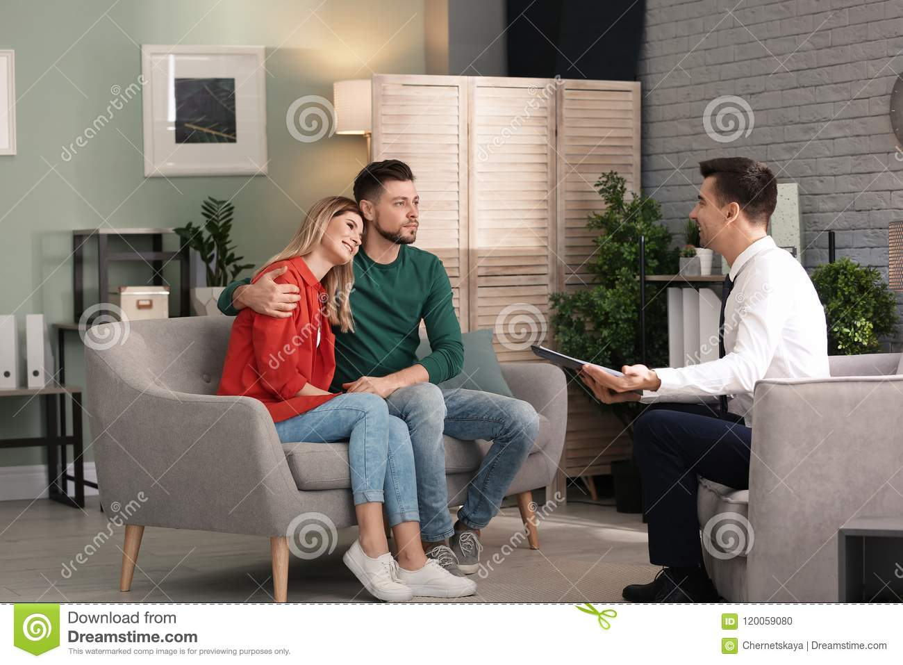 Young happy couple after therapy session