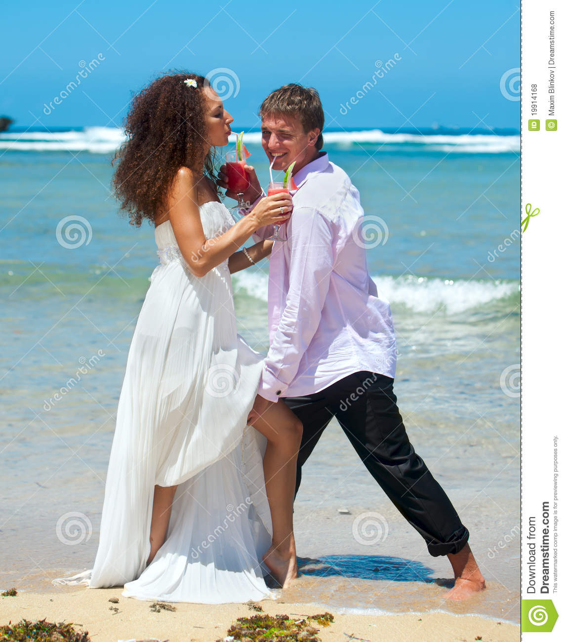 Young Happy Couple On Vacation Stock Photo