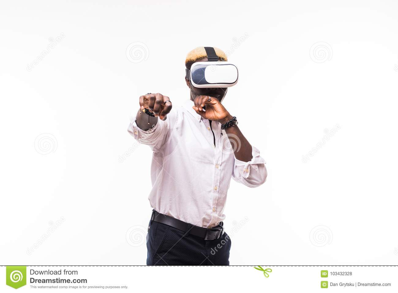 Young happy and excited afro american man wearing virtual reality vr 360 vision goggles enjoying video game isolated on clear back