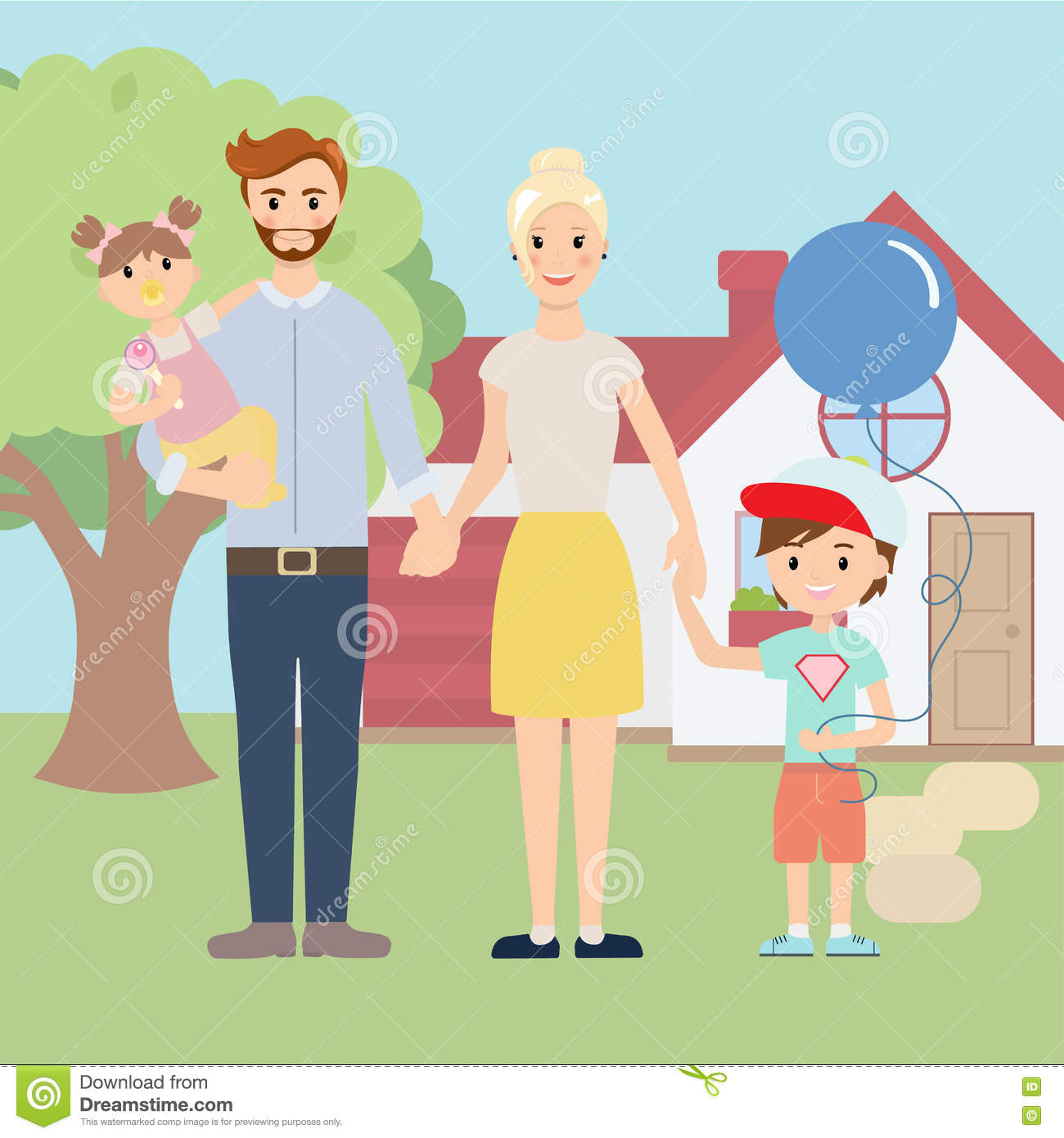 Happy Family In Front Of New House Royalty-Free Stock ...
