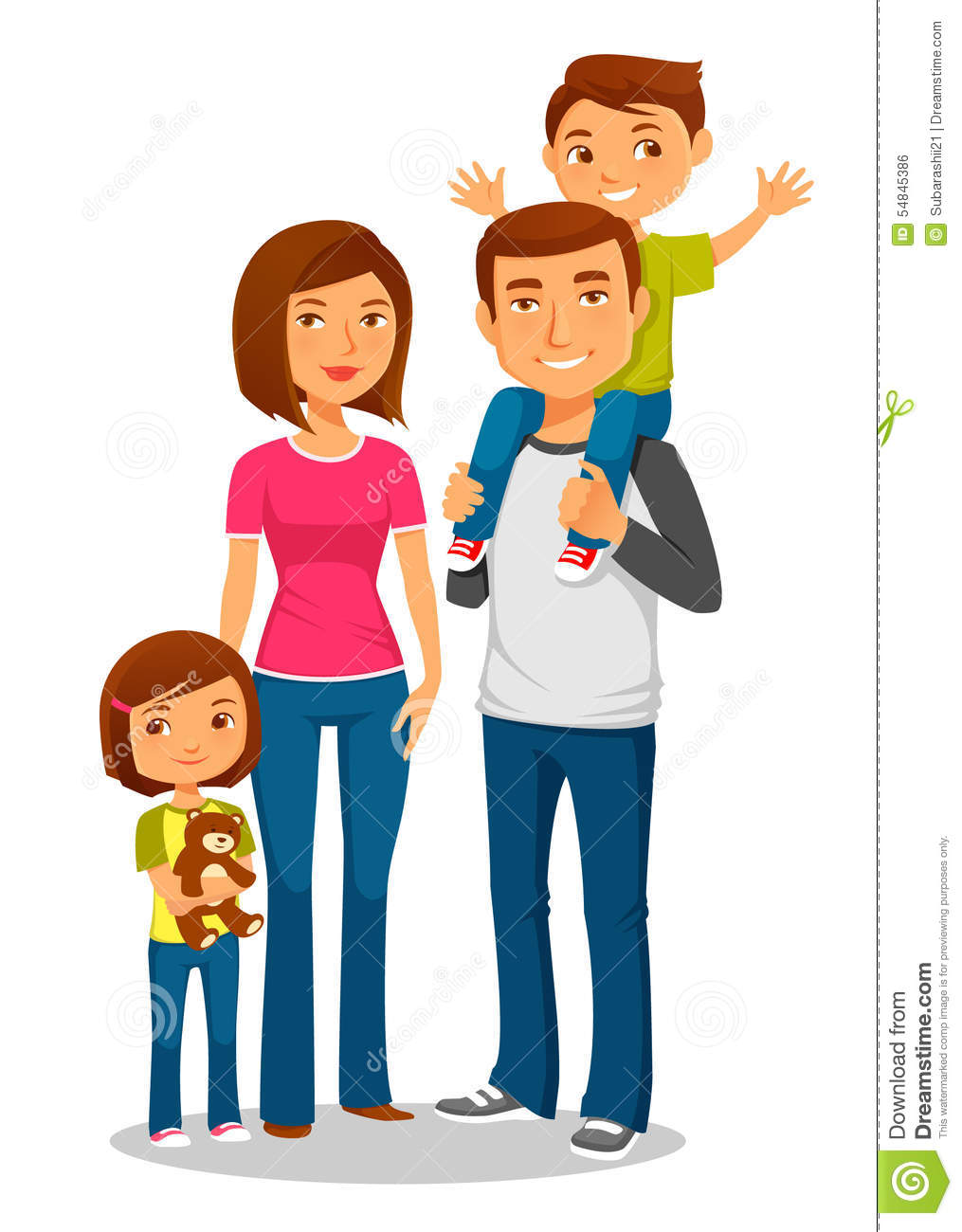 Young Happy Family With Two Kids Stock Vector
