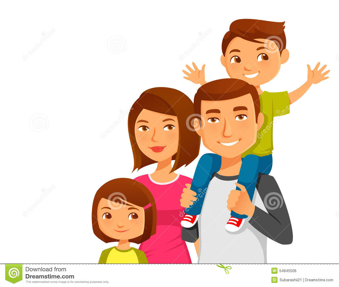 Barn Plan Young Happy Family With Two Kids Stock Vector Image