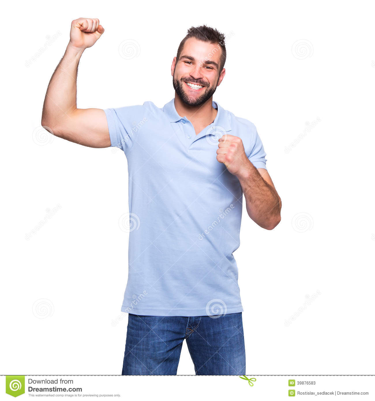 Young happy man in a blue polo shirt stock image image Man in polo shirt