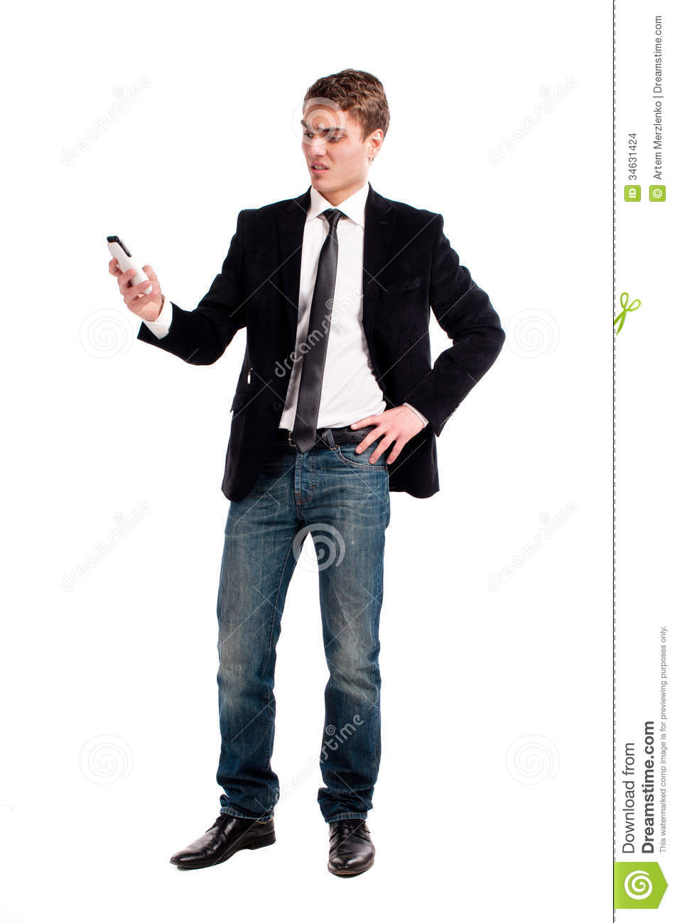 Man On Cell Phone : Young happy man holding mobile phone stock photo image