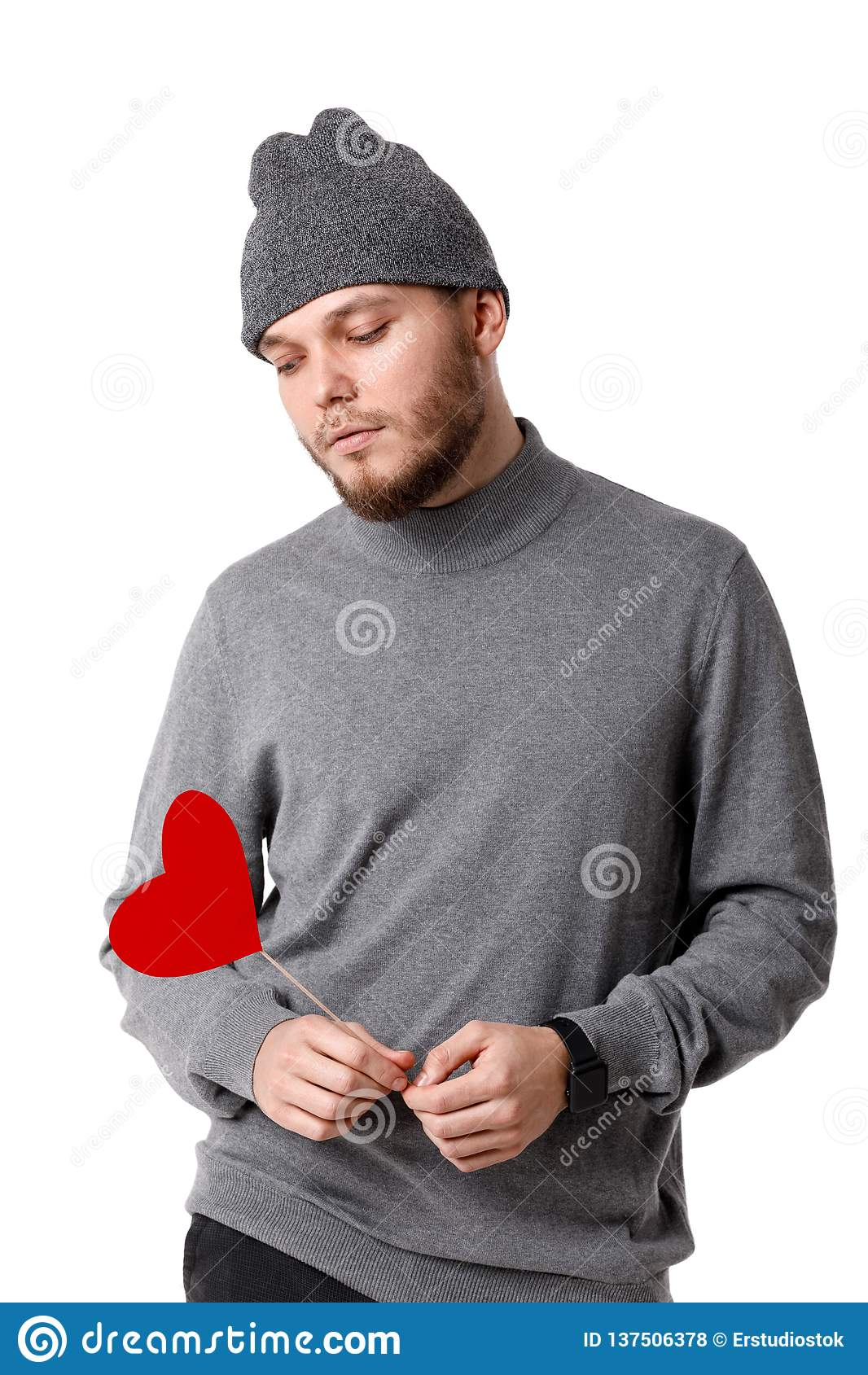 aee0fbb33ef Young Happy Man Holding Red Paper Heart. Stock Photo - Image of ...