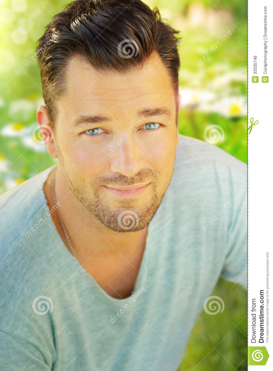 Outdoor portrait of a very handsome young man with nice smiling ...: dreamstime.com/royalty-free-stock-image-young-happy-man-outdoor...