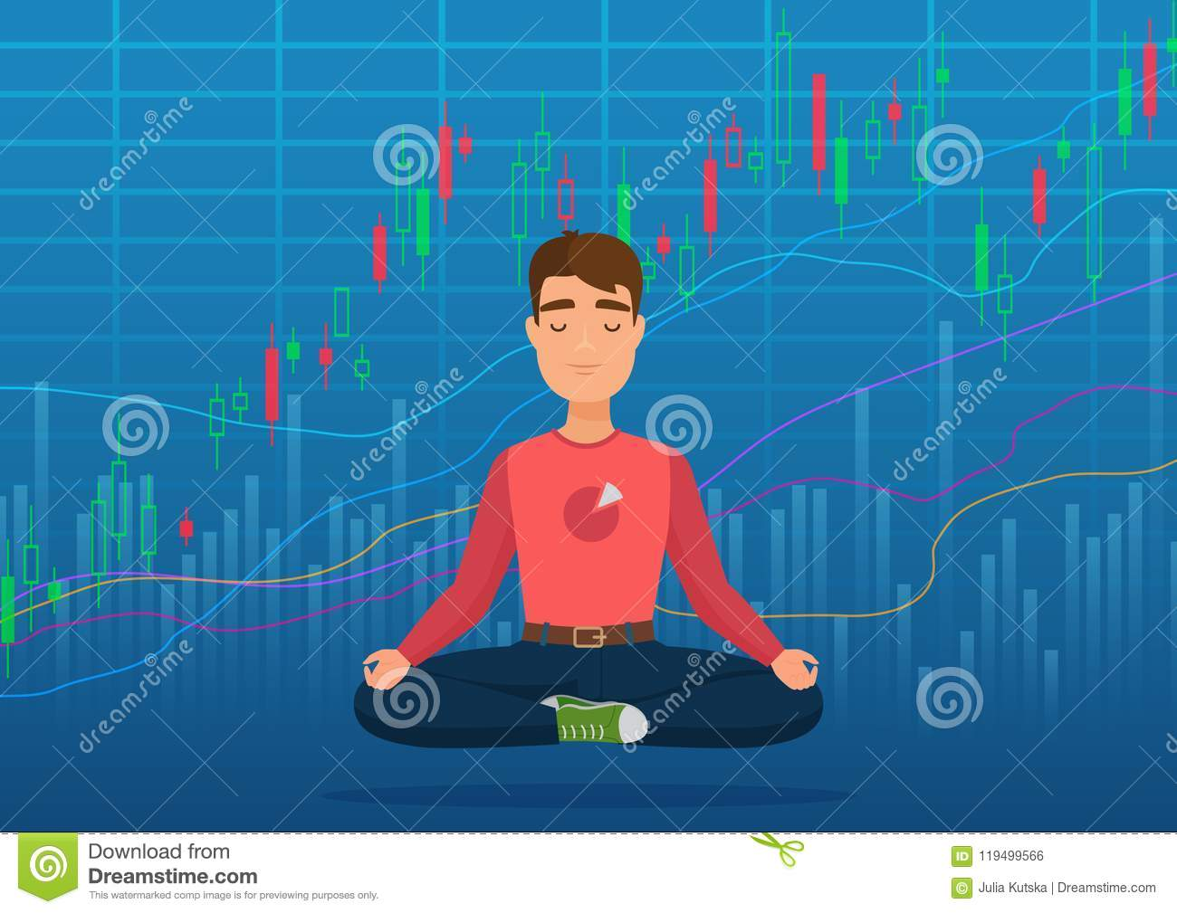 Young happy man trader meditating under crypto or stock market exchange chart concept. Business trader, finance stock