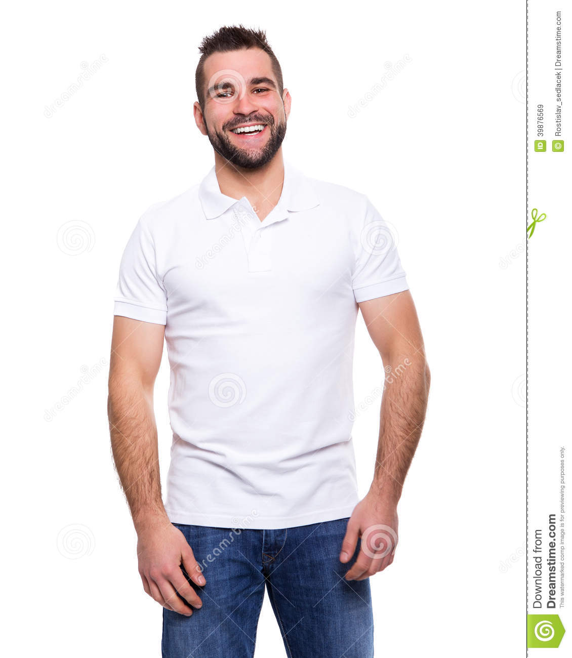 Handsome guy in blue shirt pointing royalty free stock Man in polo shirt