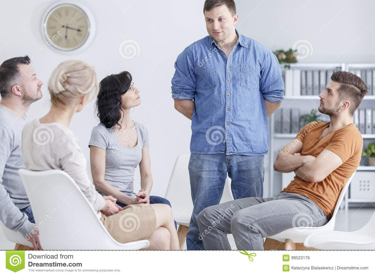 Man talking in support group
