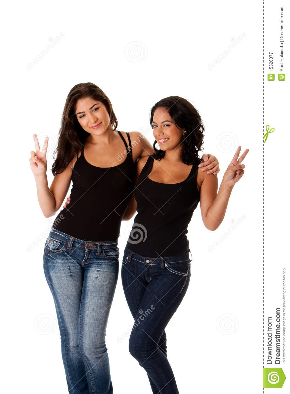 Young happy peace girls