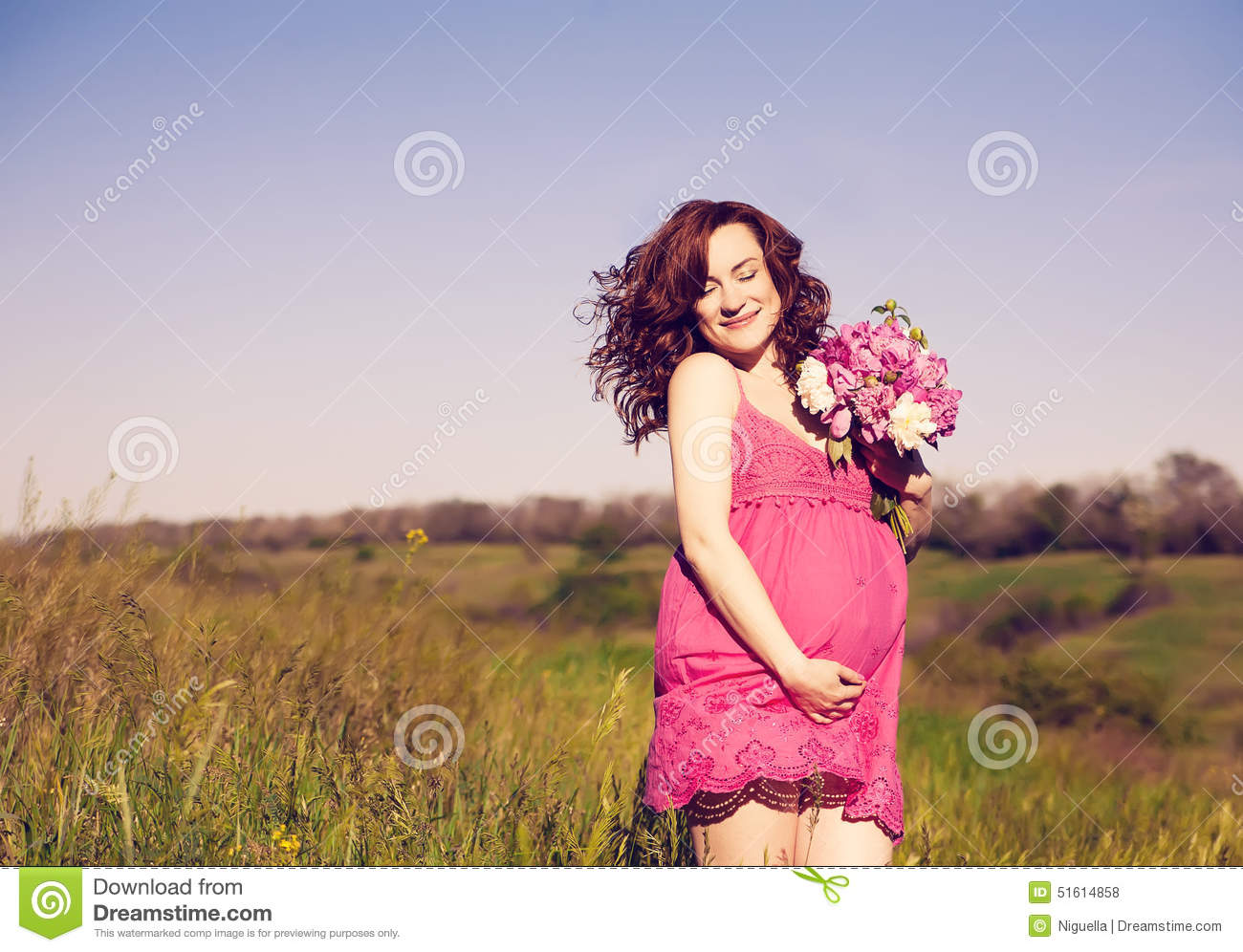 Download Young Happy Pregnant Woman Relaxing And Enjoying Life In Nature. Stock Photo - Image of belly, maternity: 51614858