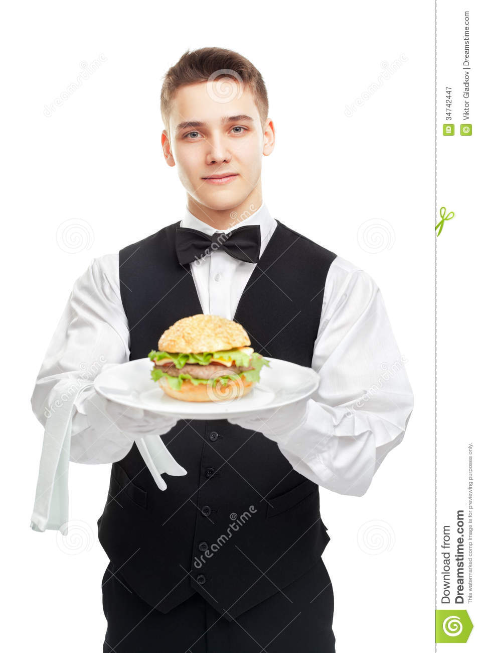 Young Happy Smiling African American Black Teen Girl With: Young Happy Smiling Waiter Holding Hamburger On Plate