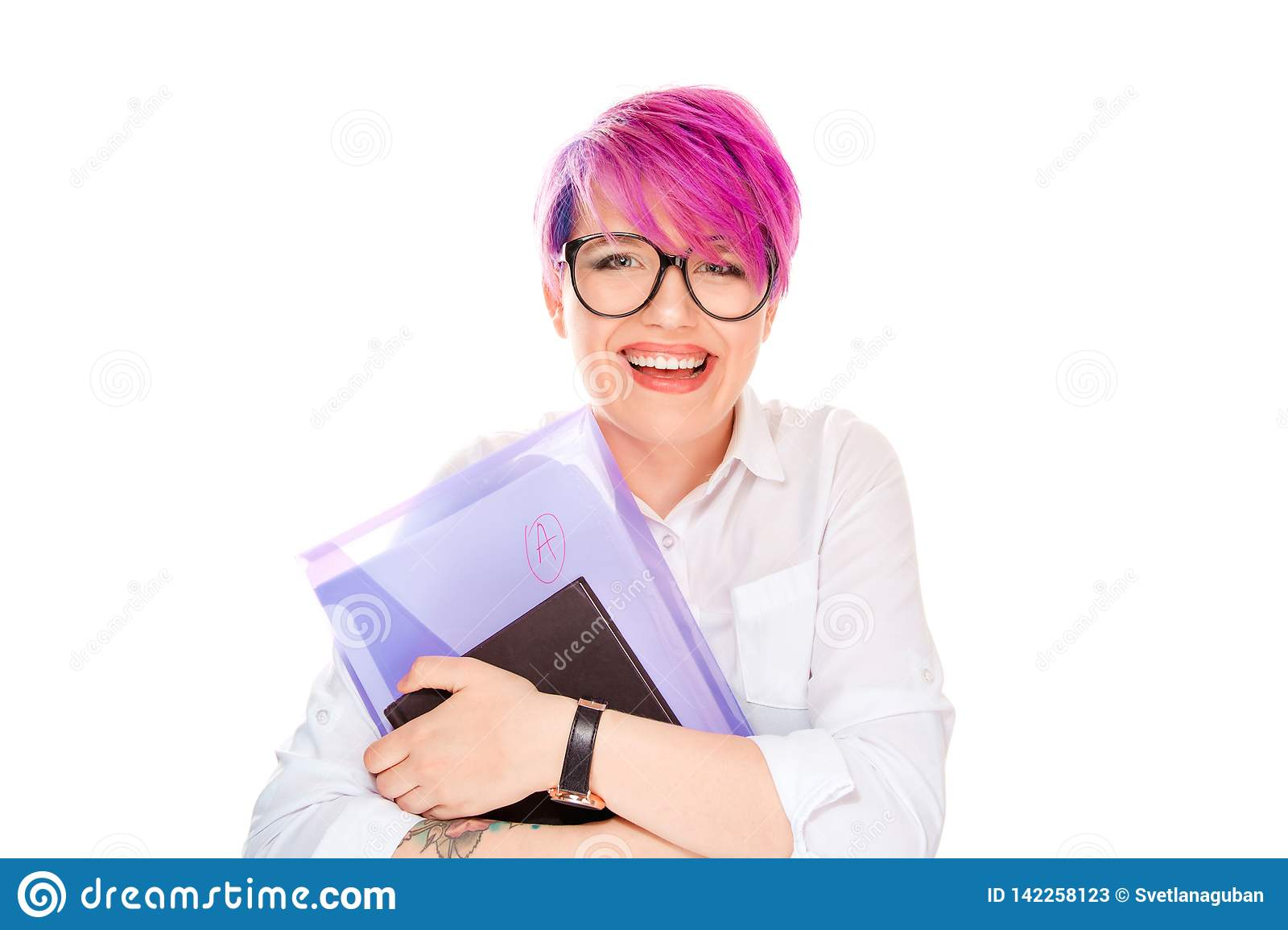 Young happy smiling woman with folder with A grade on white