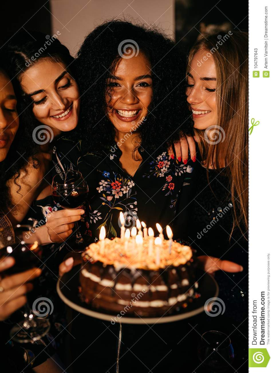 Remarkable Young Happy Woman Holding A Birthday Cake Stock Image Image Of Birthday Cards Printable Benkemecafe Filternl