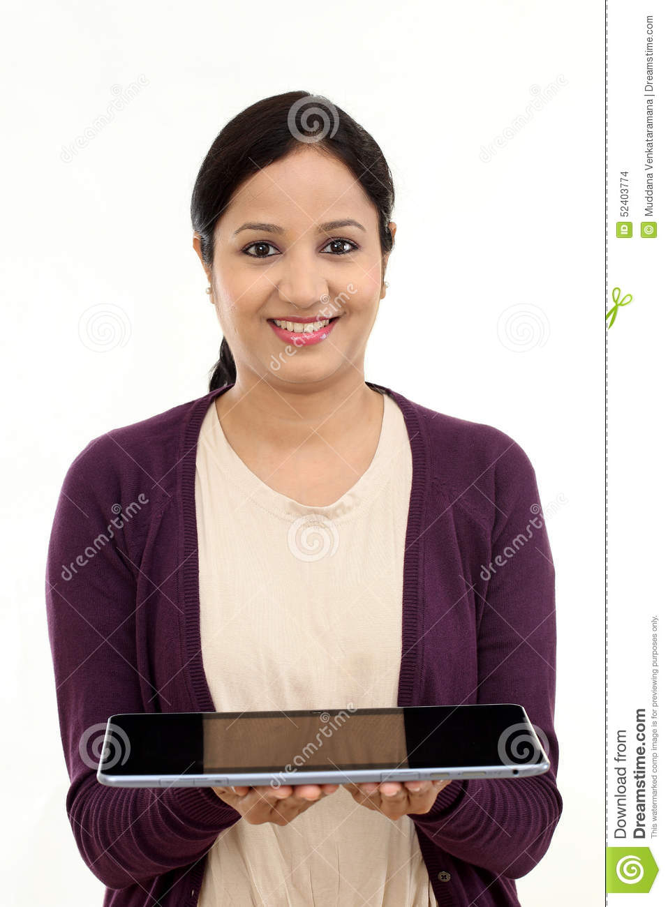 Young happy Woman holding a laptop
