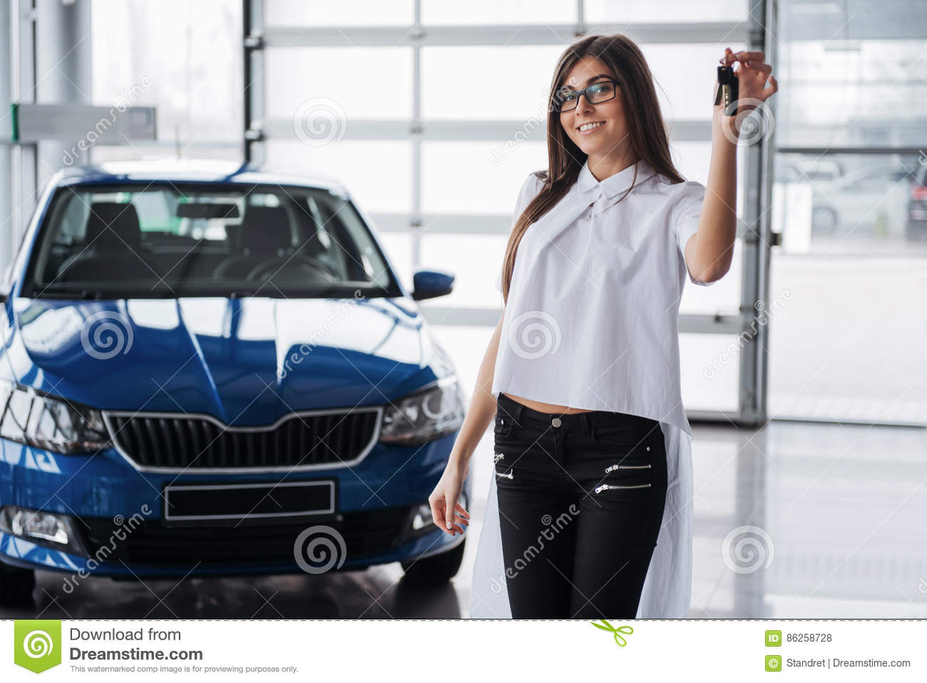 Young Happy Woman Near The Car With Keys In Hand Stock Photo Image