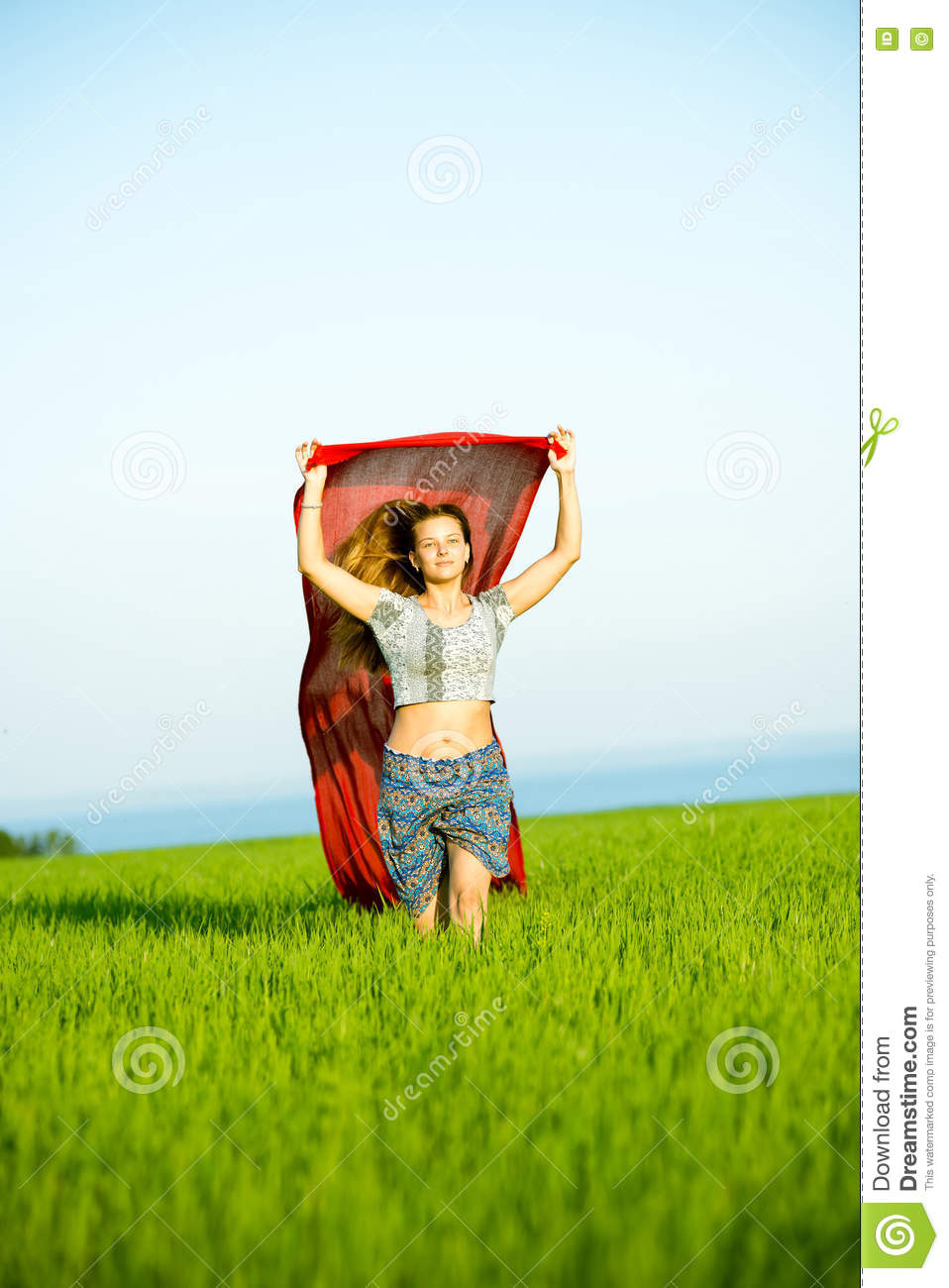 Young Happy Smiling African American Black Teen Girl With: Young Happy Woman In Wheat Field With Fabric. Summer