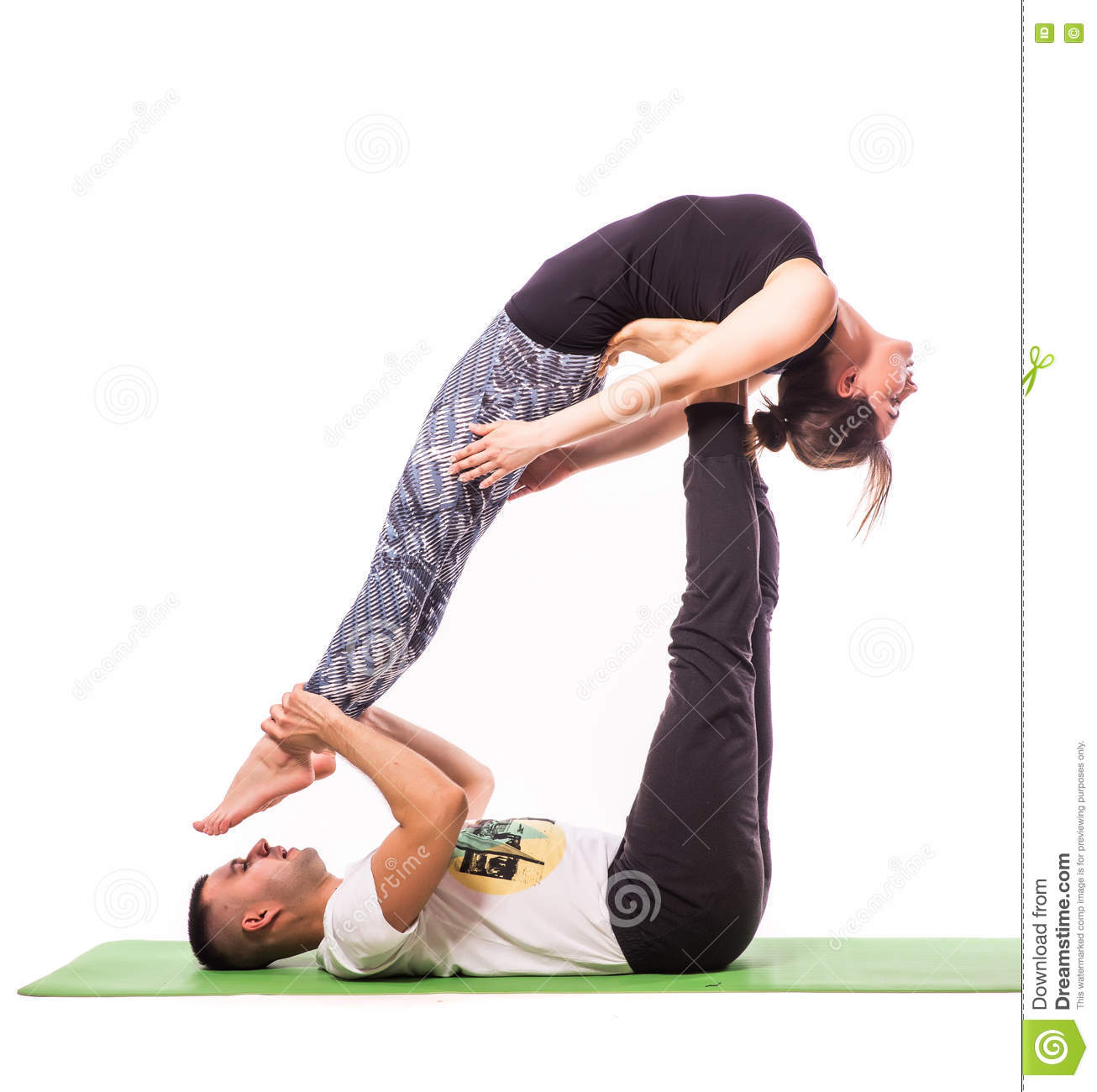 young healthy couple in yoga position stock photo image. Black Bedroom Furniture Sets. Home Design Ideas