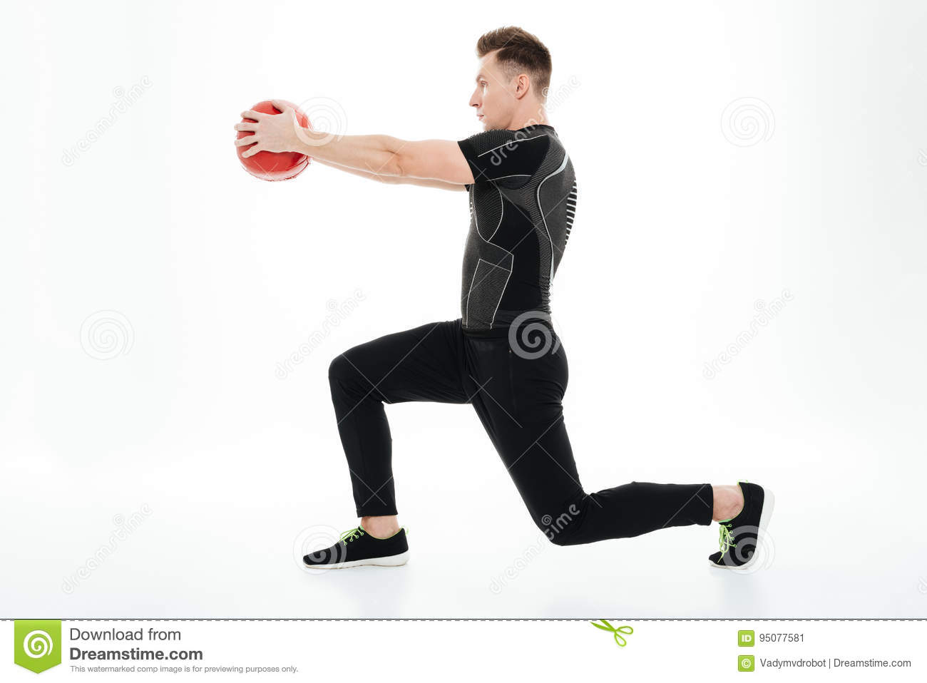 Young Healthy Sportsman Doing Squats With Weight Ball Stock Image