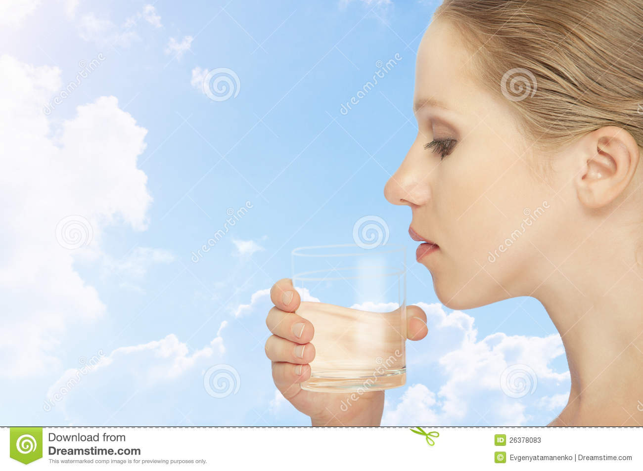 healthy young woman drinking glass of mineral water stock photo 27715830. Black Bedroom Furniture Sets. Home Design Ideas
