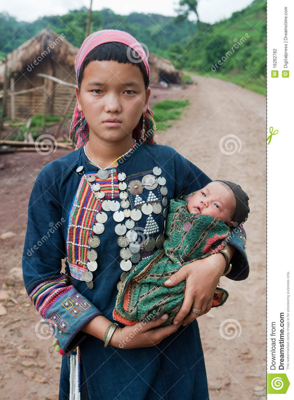 Young hill tribe mother with baby
