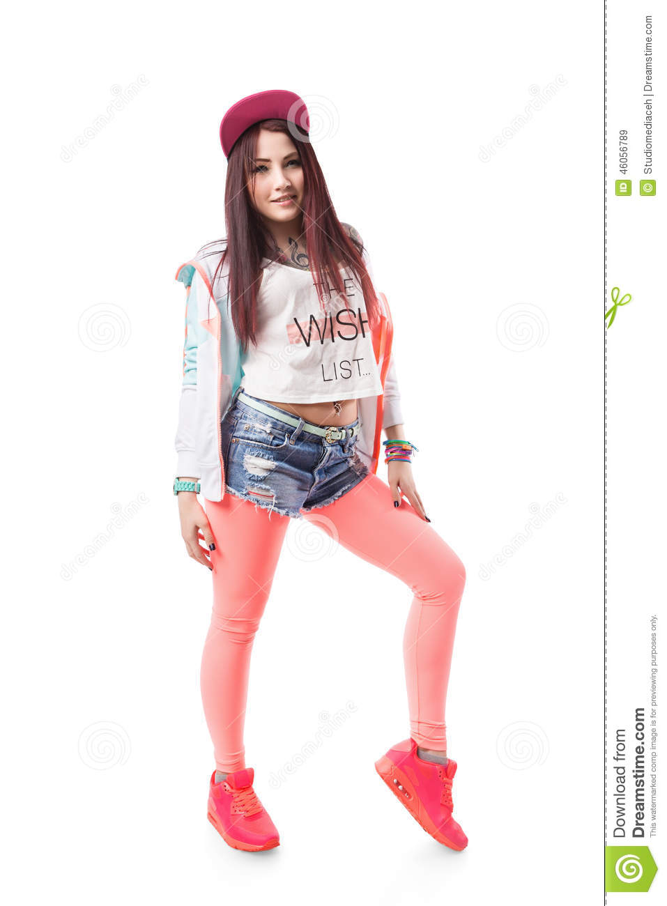 Young Hip,hop Swag Girl In Pink Tight Leggings, Crop Top And