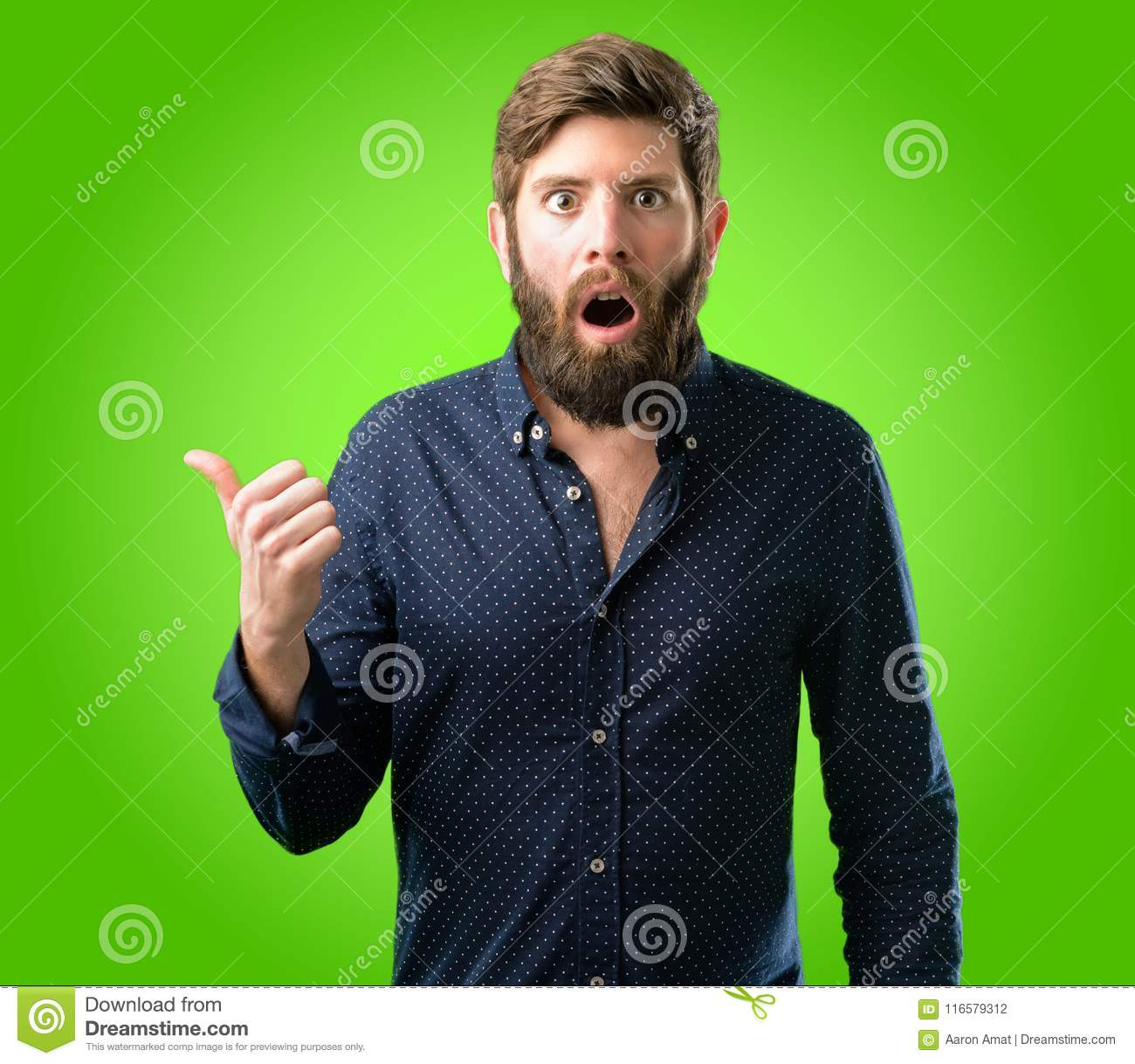 Young hipster man with beard and shirt