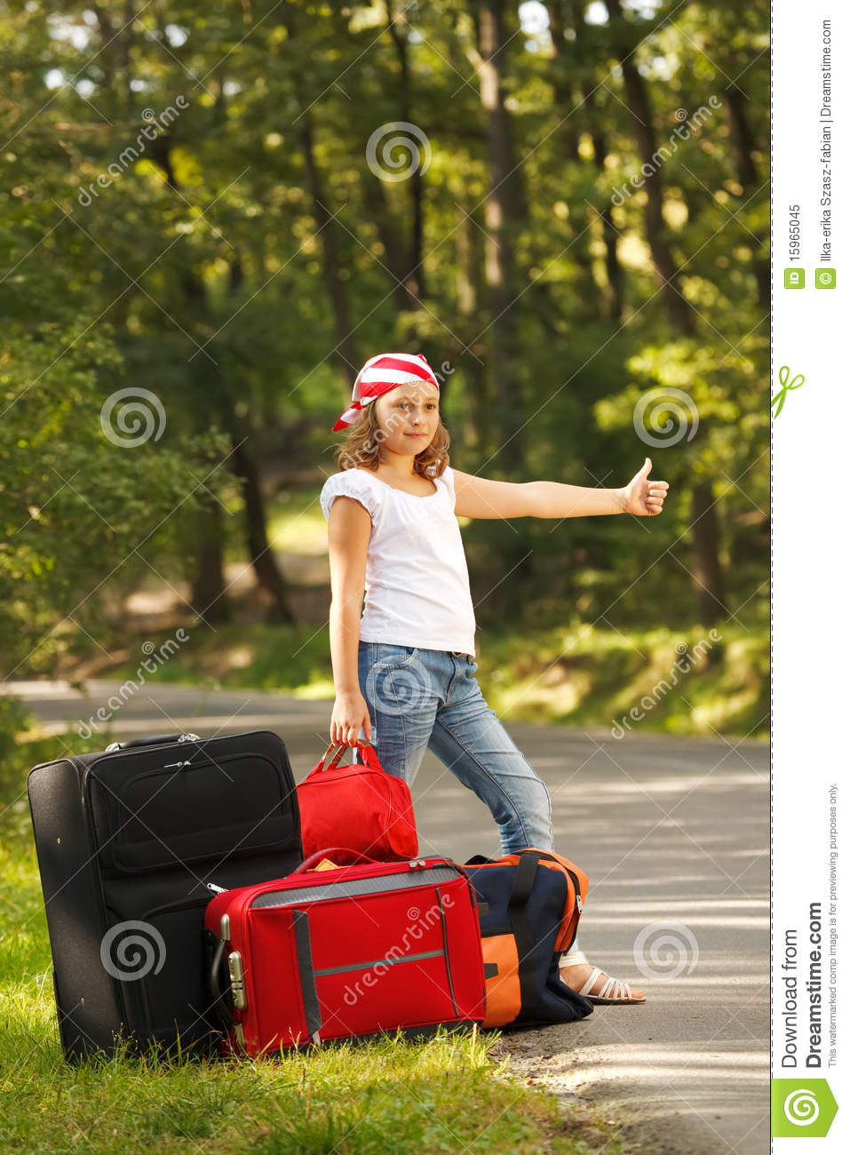 Young Hitch Hiker Girl Royalty Free Stock Photo Image
