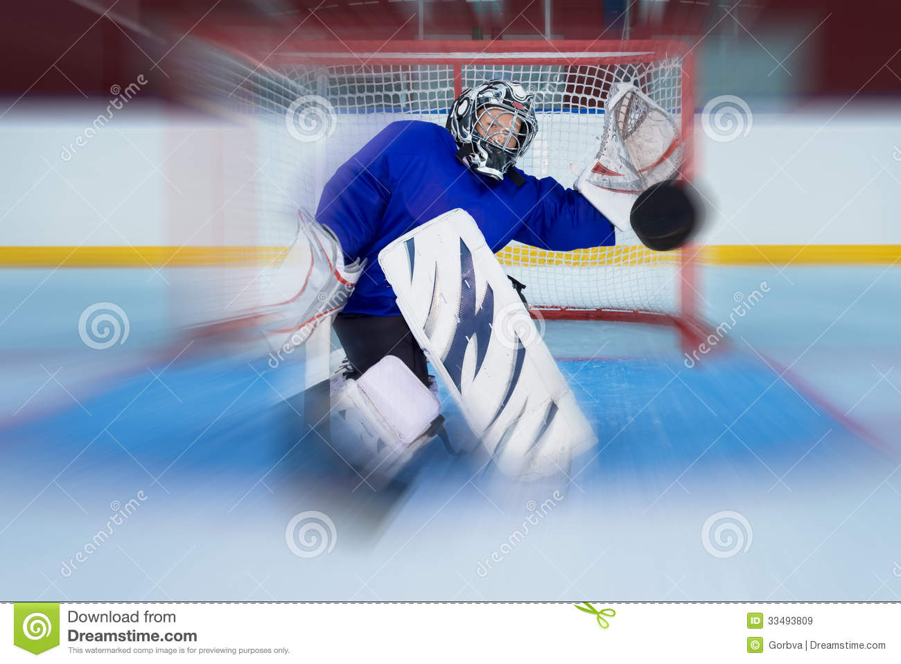 Young Hockey Goalie Catching A Flying Puck Stock Image Image Of