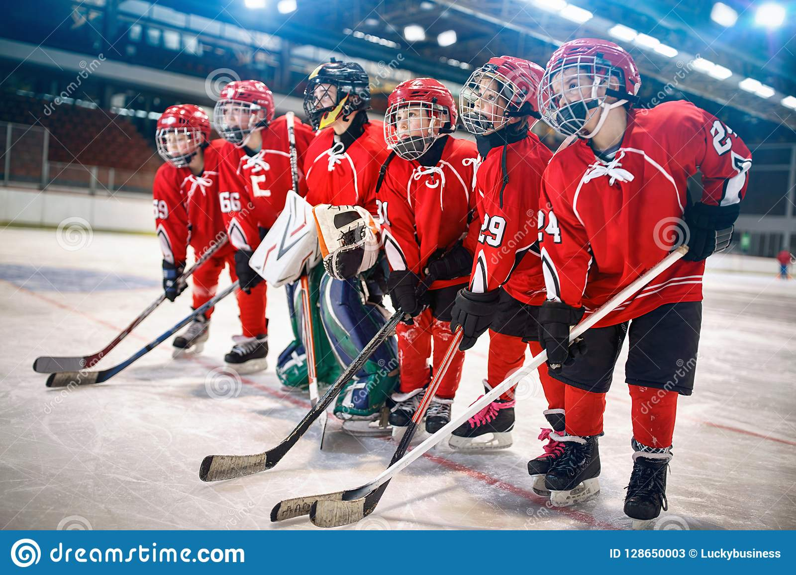 Young hockey team - children play hockey