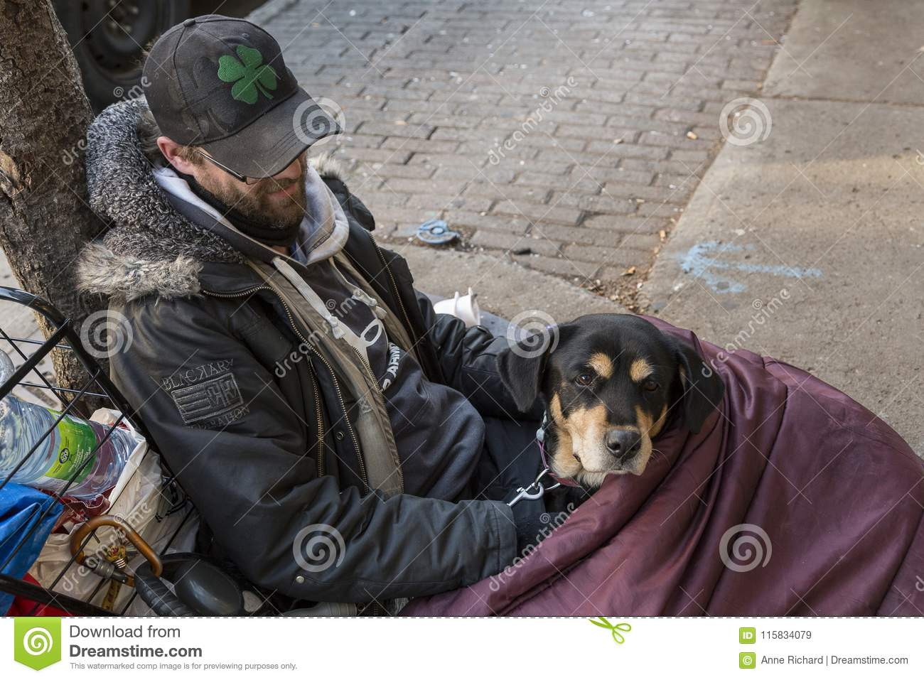 Young homeless man and his dog lying on sidewalk in sleeping bag