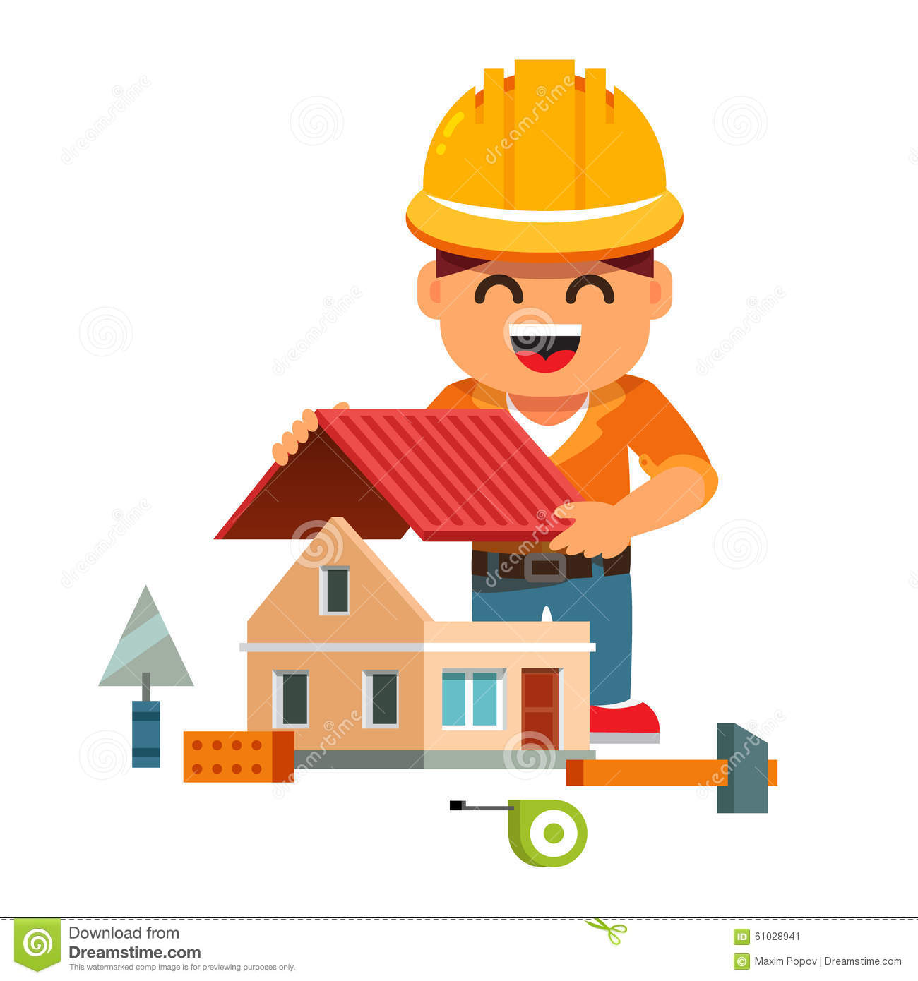 Young house builder in hardhat building home stock vector for Builder home